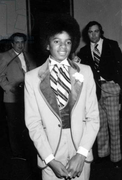 Portrait of Michael Jackson a Hollywood on 15/12/1973 (b/w photo)