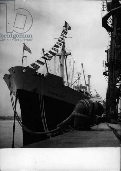 """Tue 03, 1954 -"""" Clement Ader to sail on Maiden trip to Far East. The New Liner of the chargeurs Reunis photogrpahed in the Harbour of Bordeaux. It was officially inaugurated yesterday. The 17.600 ton ship carrying 555 passengers will sail on her maiden trip April 1st"""