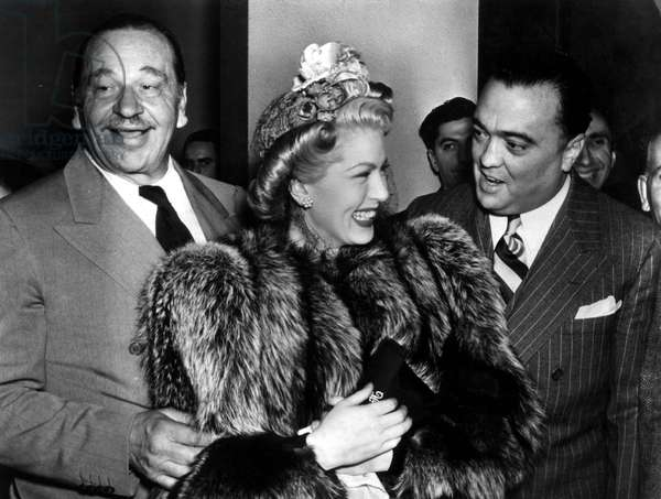 Actor Wallace Beery, Lana Turner and John Edgar Hoover FBI President 1946 - 1948