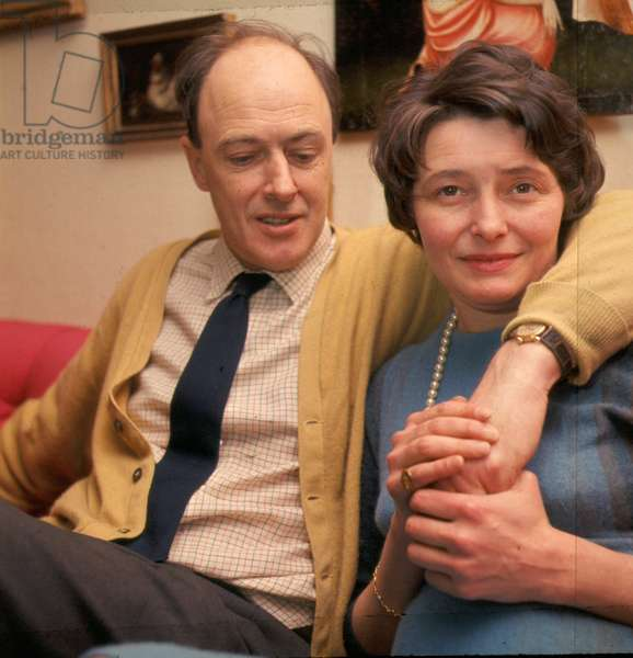 Portrait of writer Roald Dahl with wife Patricia Neal in 1966