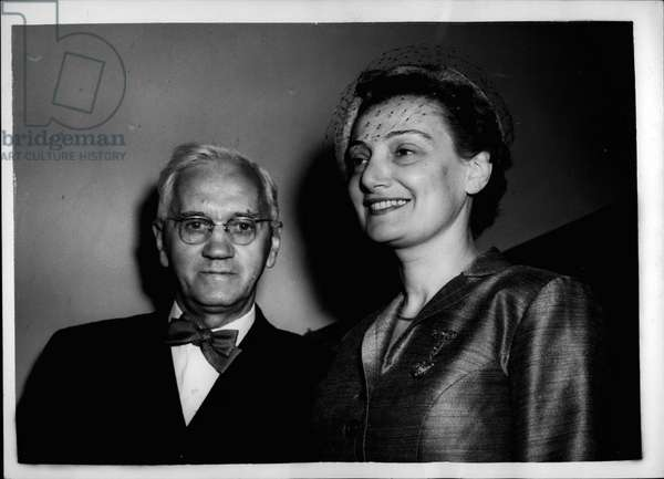 Sir Alexander Fleming and his wife Mrs. Amalia Coutsourie, on the day of their wedding at the Chelsea register Office on Apr. 04, 1953 (b/w photo)