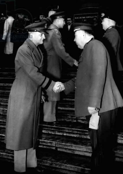 Jan. 01, 1955 - American And Soviet Commanders Shake Hands In Vienna.. New Year Guard Change Ceremony: American and Russian Guard Commanders were to the seen shaking hands in front of the Interllied Headquarters (Vienna's Palace of Justice) during the New Year's even ceremony of Changing the Guard - when the American Forces relieved the Soviet Guard for the month of January