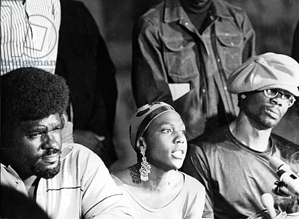 Portrait of Elmer Howard, Afeni Shakur (mother of rapper Tupac or 2pac) and Raymond Hewitt members of the Black Panthers in 1971