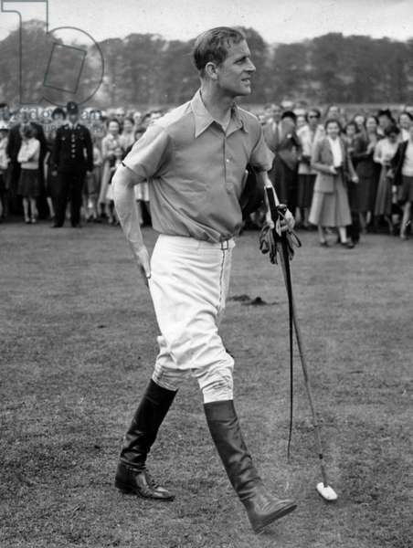 May 8, 1952 - Cowdrey Park, Sussex, U.K. - PRINCE PHILIP (Philip Mountbatten) during a polo game