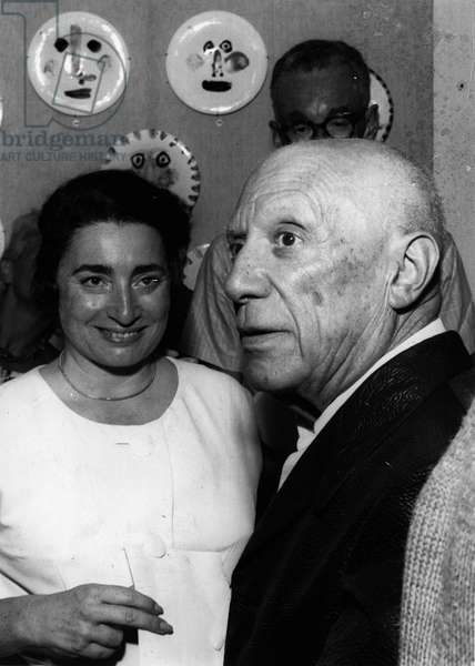 Portrait of PABLO PICASSO and his wife JACQUELINE ROQUE, October 15, 1963 Cannes, France (b/w photo)