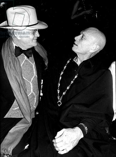 Portrait of writer Truman Capote and actor Yul Brynner at nightclub studio 54 1978