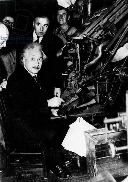 Jan. 24, 1934 - New York, NY, U.S. - Professor ALBERT EINSTEIN setting the first line of type for the first enlarged edition of the Jewish Daily Bulleton.