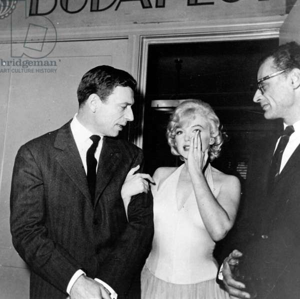 Portrait of Yves Montand, Arthur Miller and Marilyn Monroe circa 1960