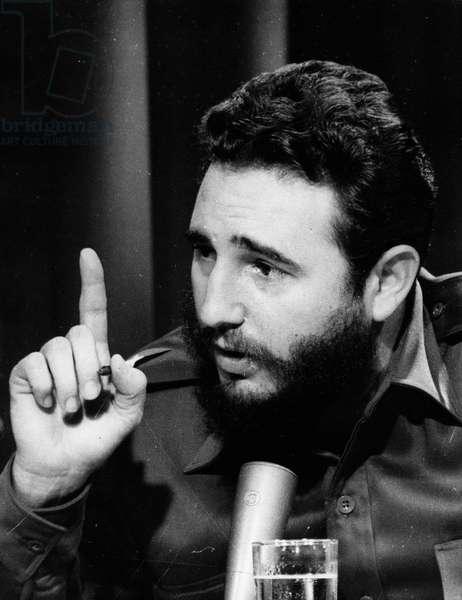 May 28, 1966 - Havana, Cuba - FIDEL ALEJANDRO CASTRO RUIZ (born August 13, 1926) in Havana speech announcing the US and Cuba agreement