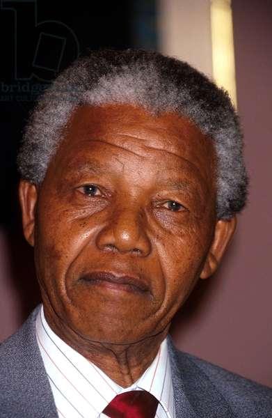 Portrait of Nelson Mandela (1918-2013) in 1991