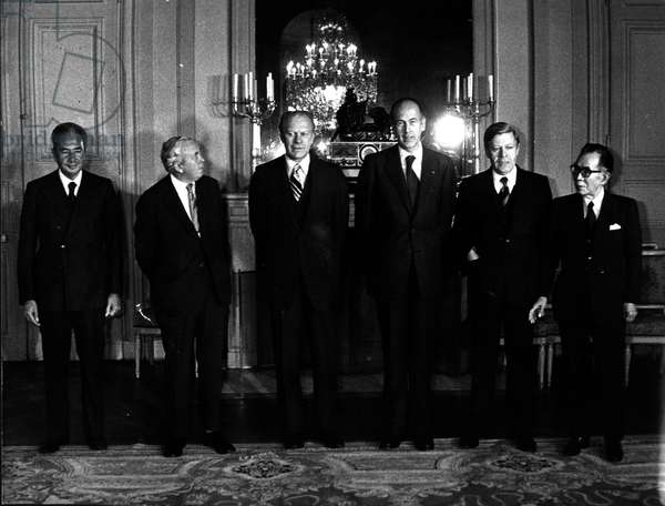 Nov. 17, 1975 - Left to right: Italy's Council President Aldo Moro, Britain's Prime Minister Harold Wilson, President Gerald Ford, French President Valery Giscard d'Estaing, West Germany's Chancellor Helmut Schmidt, and Japan's Prime Minister Takeo Miki