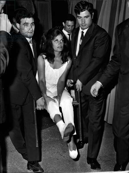 Aug. 08, 1953 - ROME, 9th August, 1953 - DALIDA the French Singer arrived yesterday in Rome to present her musical show at Casina delle Rose: the famous singer appeared to her fans very tired and sick because of a very accident she had in Nizza few days ago; DALIDA had in fact a leg broken by a bed fall.
