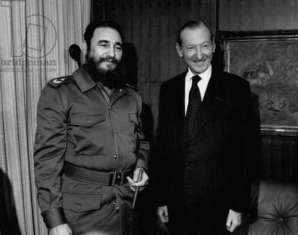 Dec. 12, 1979 - The United Nations: Fidel Castro Met with Kurt Waldheim (1918-2007) before addressing the United Nations General Assembly