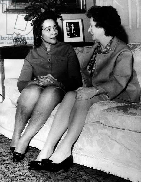 Mar 17, 1969; London, England, UK; Mrs. CORETTA KING, widow of the assassinated American civil rights leader Reverend MARTIN LUTHER KING meets in London with MARY WILSON, wife of British Prime Minister Harold Wilson