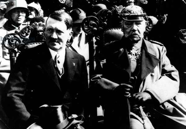 29/08/1933 Berlin, Germany; ADOLF HITLER Imperial Chancellor of Germany and the leader of the Nazi Party with the President of Germany PAUL VON HINDENBURG (1847-1934)