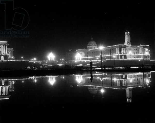 Jan. 01, 1955 - India Celebrates Her Sixth Anniversary As Republic.. Parades In Delhi: Photo Shows General view shows General Secretariat illuminated - during ceremonies in Delhi to mark the six th year of the Indian Republic